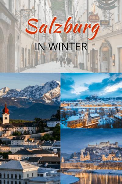 collage of salzburg in winter text says salzburg in winter
