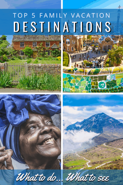 collage text reads top 5 family vacation destinations