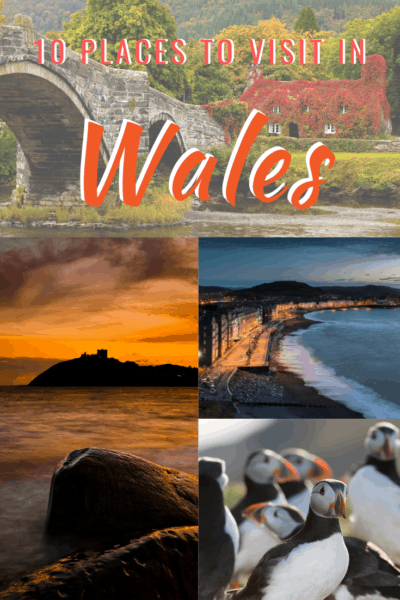 Collage of sunset photos in wales text says 10 places to visit in wales