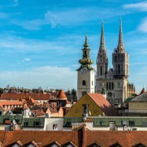 Upper city of Zagreb from lotrscak tower.