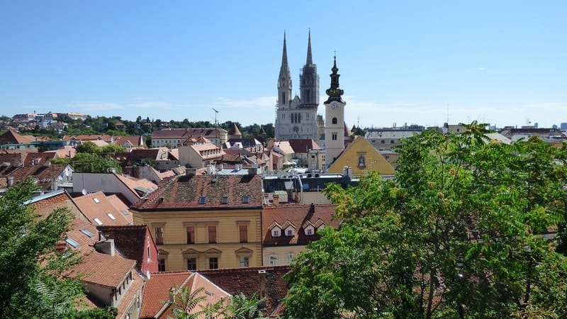 zagreb cathedral on the skyline