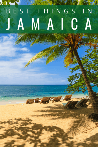 Beach chairs in the sand in jamaica text says jamaica best things to do