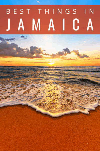 Sunset on the beach in jamaica text says jamaica best things to do