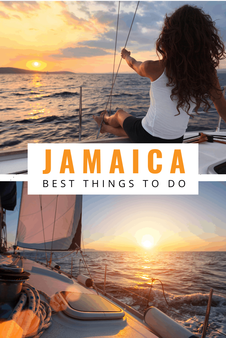 sunset sailing in jamaica text says jamaica best things to do