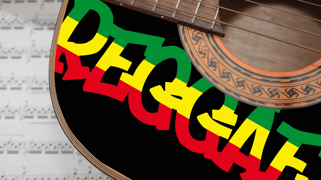Jamaica itinerary reggae labeled guitar