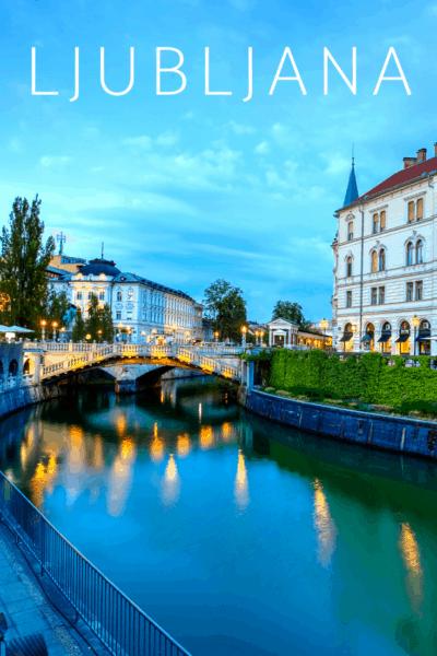 Night view of ljubljana bridges text says ljubljana