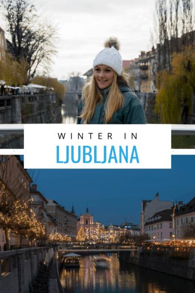 Collage of ljubljana text says winter in ljubljana