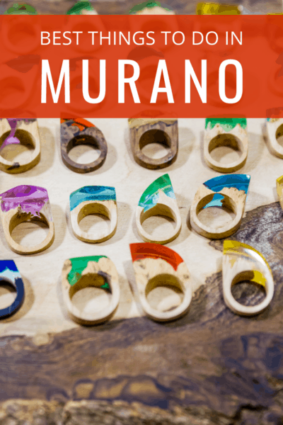 glass rings text says best things to do in murano