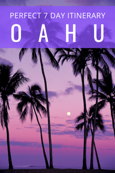 Purple sunset in oahu text reads perfect itinerary in oahu