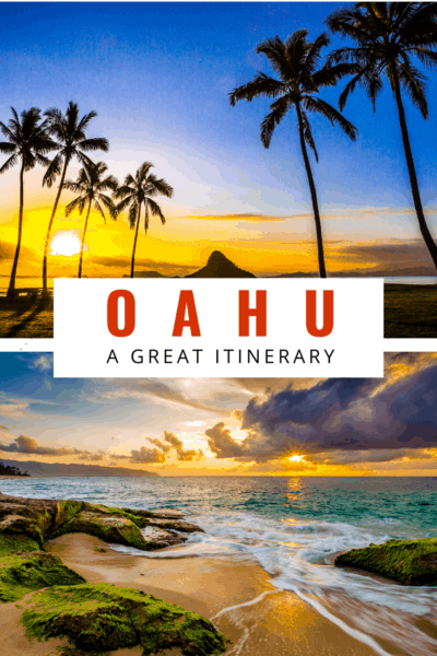 Sunset photos in oahu text reads oahu a great itinerary