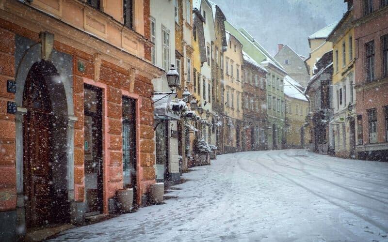 Snowy street in Ljubljana