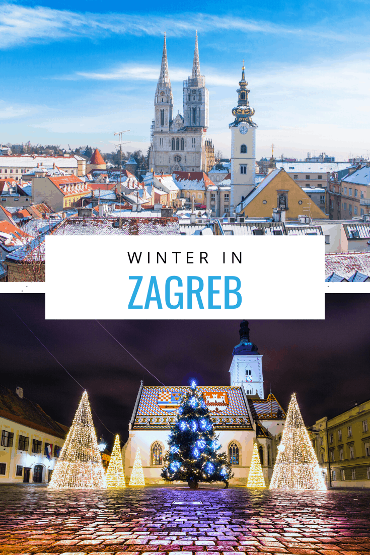 Collage of Zagreb images. Overlay text says winter in zagreb