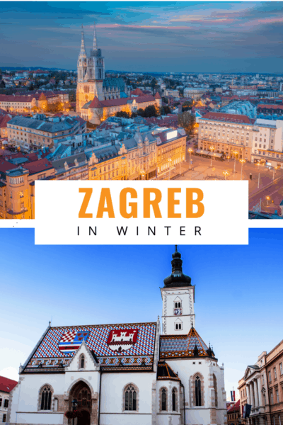 Collage of zagreb text says zagreb in winter