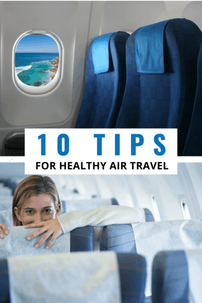 Airplane seats text says 10 tips for healthy air travel