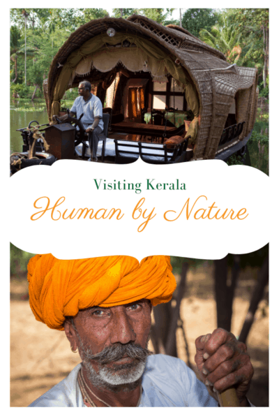 backwater boat and man with orange turban text saya visiting kerala human by nature