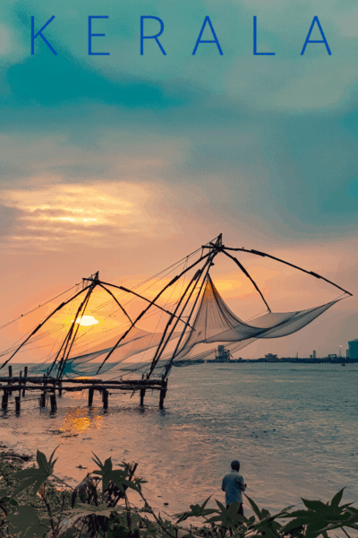 fishing nets at sunset text says kerala