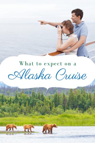 couple on cruise ship spoting bears on the shore bears on the shore text says what to expect on a alaska cruise