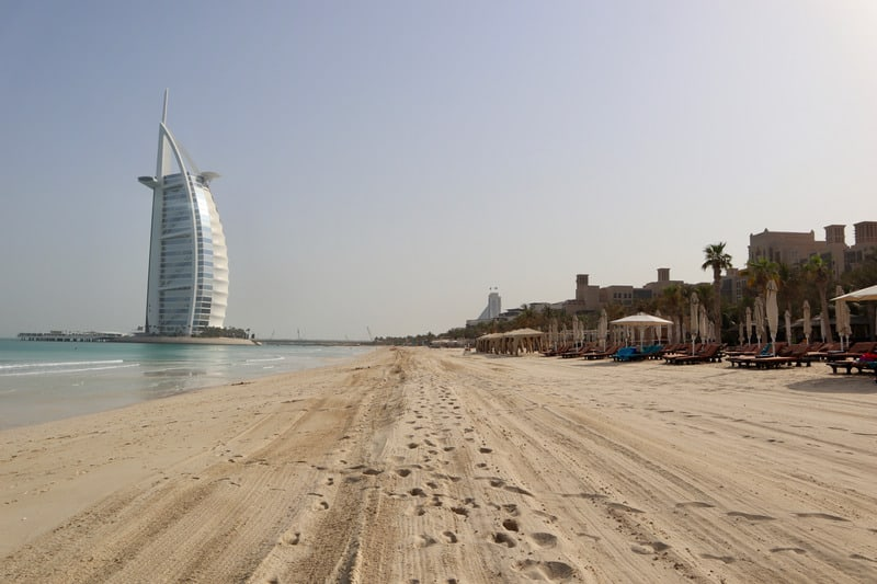 The Burj Al Arab from the beach in Dubai, UAE