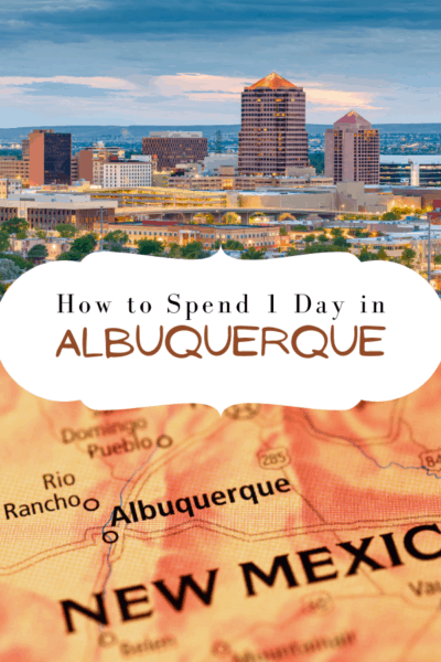 albuquerque skyline text says how to spend 1 day in albuquerque