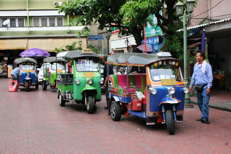 Row of tuk-tuk vehicles in Bangkok Thailand