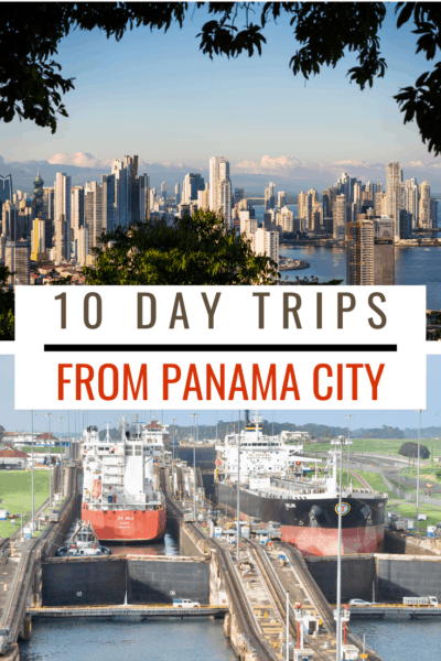aerial view of panama city and the panama canal text says 10 day trips from panama city
