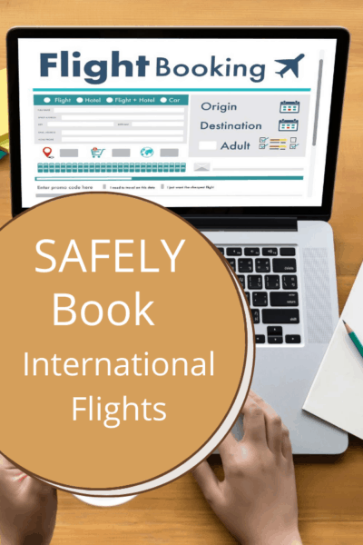 laptop with booking a flight on screen text says safely book international flights