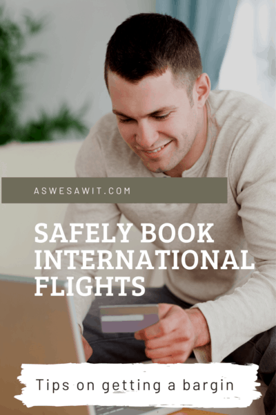 man with laptop text says safely book international flights