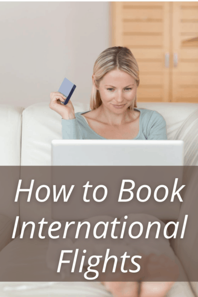 Woman on sofa with laptop text says how to book international flights