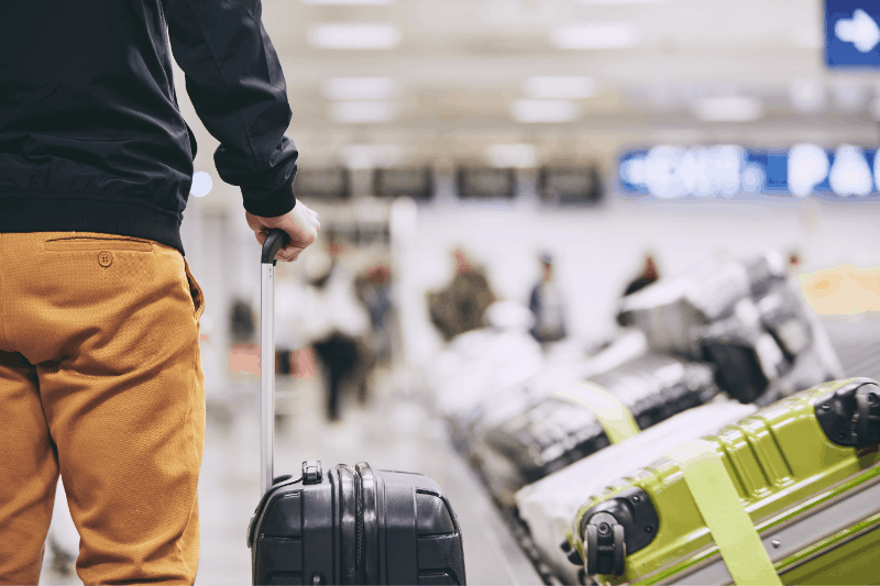 claiming luggage during a layover