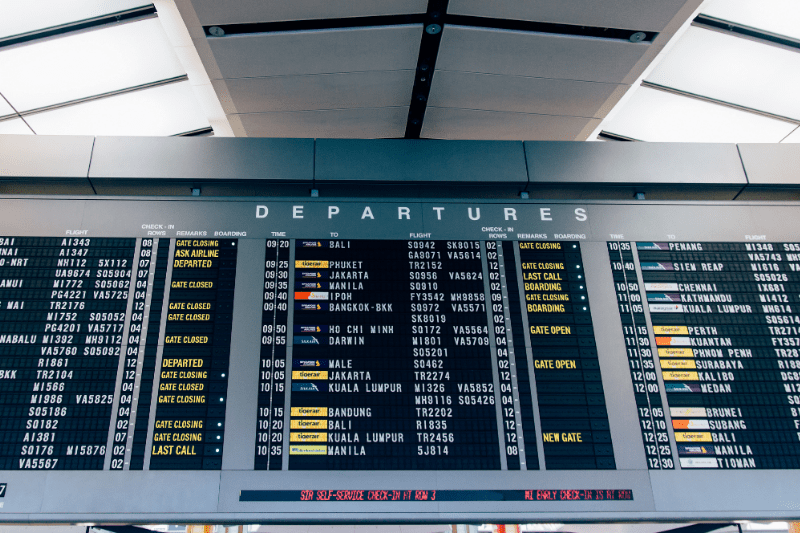 departures flight board in airport