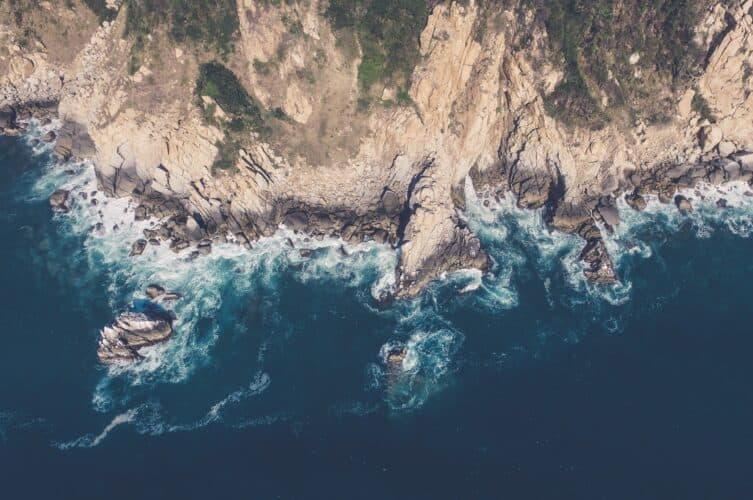 Overhead view of the cliffs along northern pacific coast of mexico