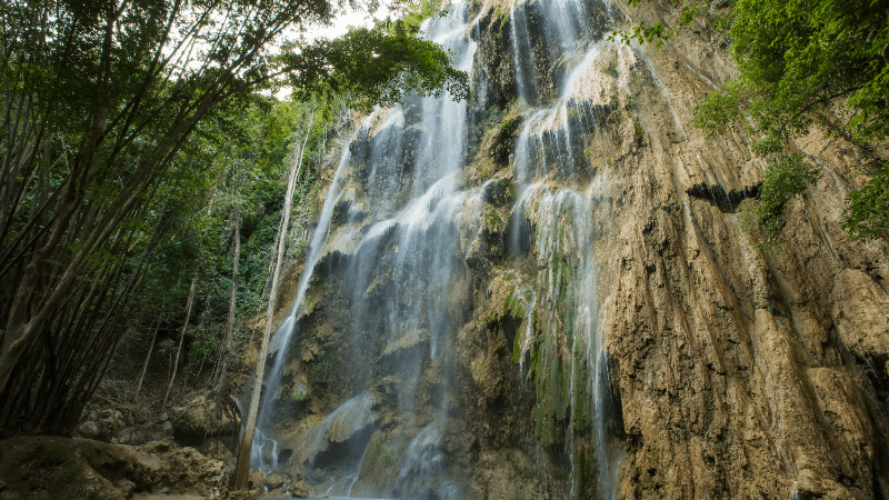 large wide waterfall, demonstrating one of the best places to visit on Cebu Island, Philippines