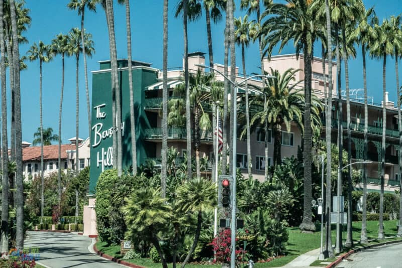 the famous beverly hills hotel along rodeo drive