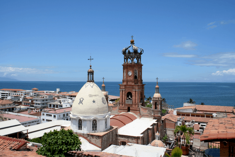 View of Puerto Vallarta cathedral and out to the pacific ocean