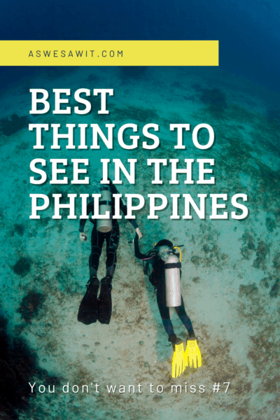 couple scuba diving text says best things to see in the philippines