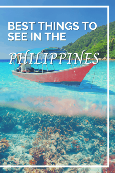 boat anchored text says best things to see in the philippines