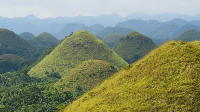 Chocolate Hills in the mist on Bohol Philippines