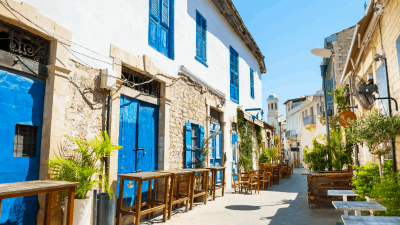 old town street in Limassol Cyprus