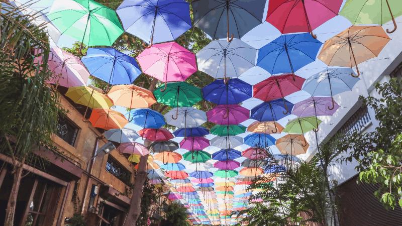 Colorful umbrellas over street in Nicosia
