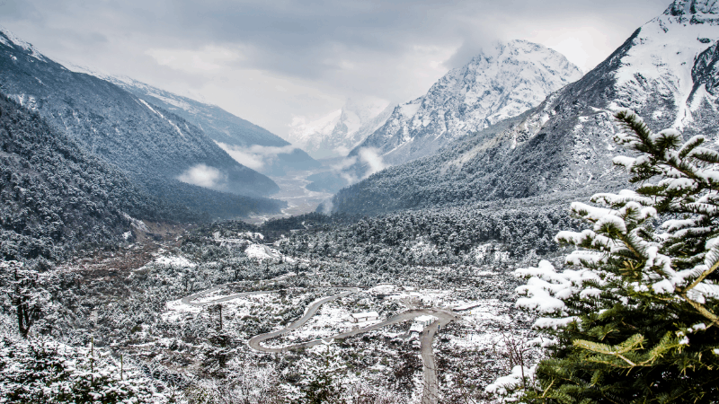 Yumthang valley in India during November located in the state of sikkim india