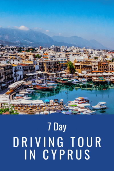 harbor in cyprus text says 7 day driving tour in cyprus