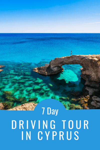 natural bridge at Ayia Napa beach cyprus text says 7 day amazing driving tour in cyprus