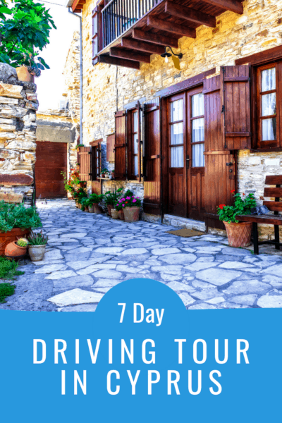 cobbled-stone street in nicosia cyprus text says 7 day driving tour in cyprus