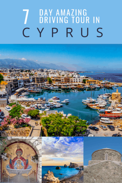 harbor in cyprus text says 7 day amazing driving tour in cyprus