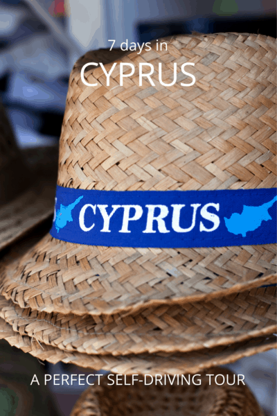 straw hat woth a band reading cyprus text says 7 days in cyprus a perfect self-driving tour