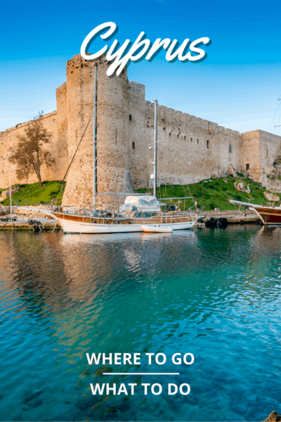 renita castle harbour in cyprus text says cyprus where to go what to see