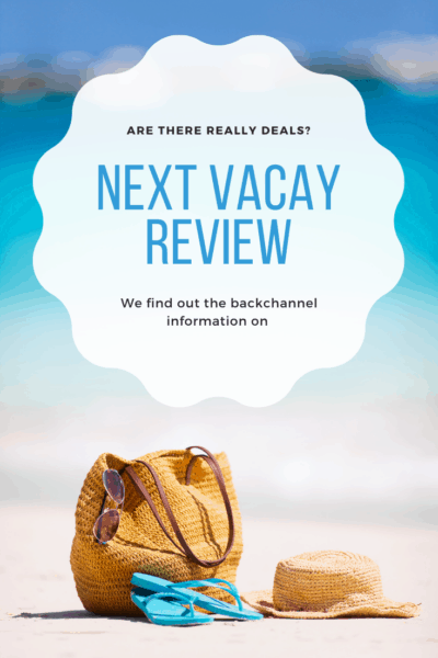 Next Vacay review with a beach bag on the sand