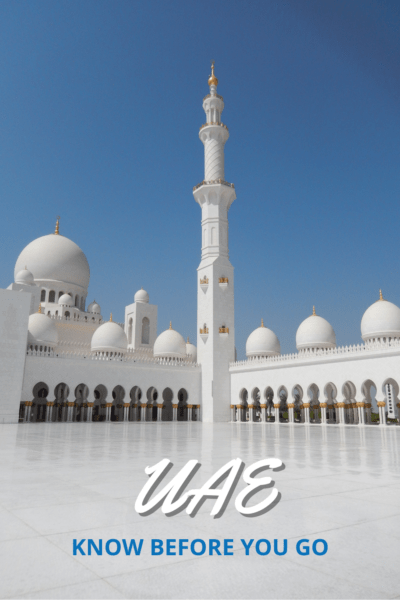 White building in UAE. Text overlay says UAE know before you go