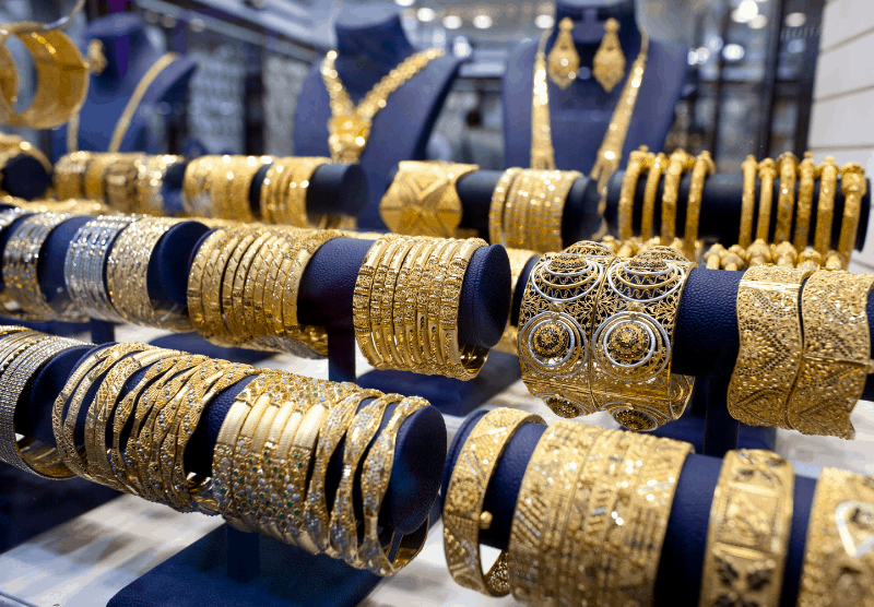 display of gold in UAE souk