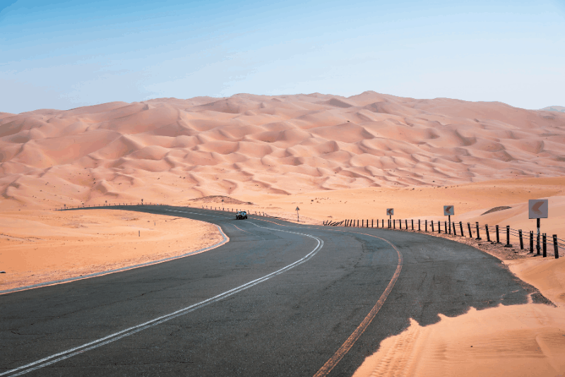 road leading through the Empty Quarter near Abu Dhabi